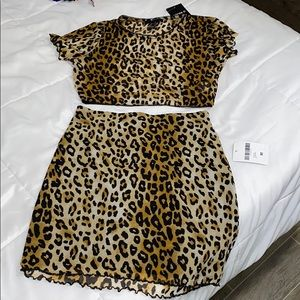 2 piece Leopard Skirt Set